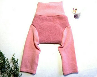 Small Wool Longies Pink Rose Heavy Wetter Cashmere / Wool Long Johns Pajamas Pyjamas  / Upcycled Wool Soaker Diaper Cover