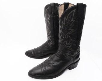 vintage DAN POST cowboy boots // black leather western boots // Vibram lug soles // men's size 11 D