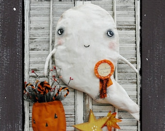 Prim Halloween Ghost pattern PDF- treat holder doll spooky