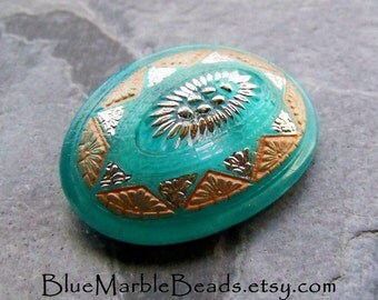 Vintage Button-Hand Painted Button-Boho Button-Bohemian Button-Oval Button-Turquoise Button-Metal Shank-Czech Glass Button-1