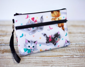 Vintage Kitties Wristlet with removable strap - cats