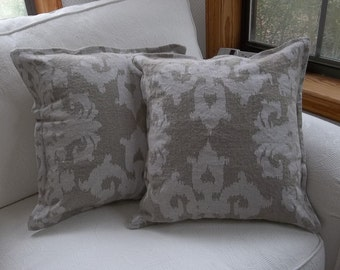 Metallic Linen Pillows Silver Damask Pillows Holiday Decorations  Christmas Decorations Slipcovers Sold Separately or as a Set