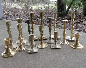 Vintage Brass Candle Holders 15 Brass Candlesticks Wedding Decor Table Settings Rustic Lighting Tall Candleholders French Country Farmhouse