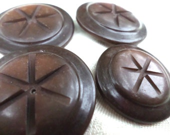 4 Big BROWN Vintage Buttons Star Buttons Old Brown Shank Buttons