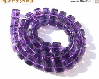 55% Sale Superior Quality AAA Amethyst Faceted 3D Cubes Briolette Full 7 Inches Size 7 - 8mm approx
