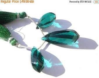55% OFF SALE AAA Teal Blue Quartz Faceted Twisted Drop Briolettes 3 Piece Set Matched Pair n a Focal Pendant