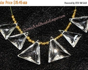 55% OFF SALE 6 Pcs 3 Match Pair 12x11-16x15 mm AAA Crystal Quartz Faceted Triangle Briolette, Gemstone Pair, Loose Gemstone Beads