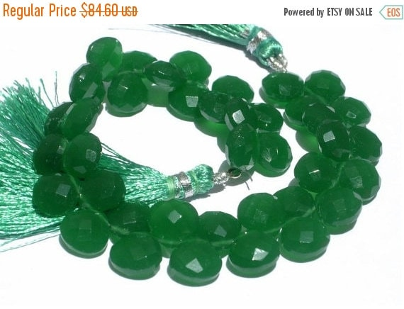 55% OFF SALE Full 8 Inches - Finest Quality AAA Green Chalcedony Faceted Heart Briolettes Size 10mm approx