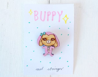 Buppy - handpainted cherry wood pin - 1 inch