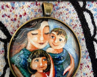 Give You Everything ~ 1.5 inch round glass art pendant, mom with two daughters