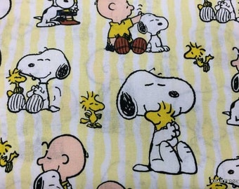 Snoopy Peanuts Fabric By the Yard, Quarter Yard Fat Quarter Yellow & White Stripe Fabric Cotton Quilting Fabric h/
