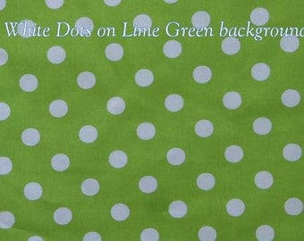 Lime Green Fabric with White Dots By the Yard, Quarter Yard, Fat Quarter Green & White Polka Dot Fabric Cotton Quilting Fabric w7/24