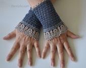 Lace crochet wristies, wristlets, cotton, P472