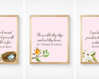Saints for Girls Nursery Quote Prints - Set of 3 - Print At Home 8x10 -Catholic