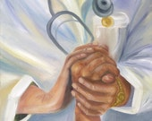 "MEDICAL : ""Nurse with Hands"" on ONE  Fabric Panel for Quilting and Sewing"