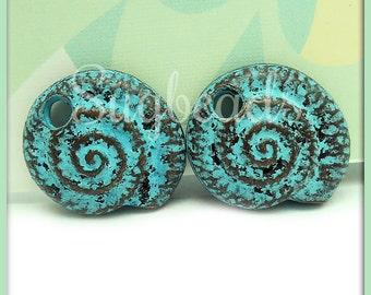 1 Mykonos Nautilus Shell Pendant, Ammonite Shell, Patina Shell Pendant 20mm, MK5
