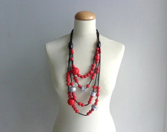 Red black statement necklace long necklace