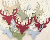 Christmas Reindeer Die Cuts Punchies, Vintage Style Colours Pack 50 Assorted Paper and Cardstock