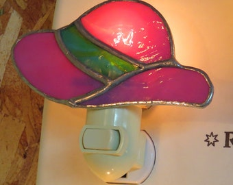 Red Hat Night light - Pink Hat Nightlight - Stained Glass Red Hat and Pink Hat Night lights