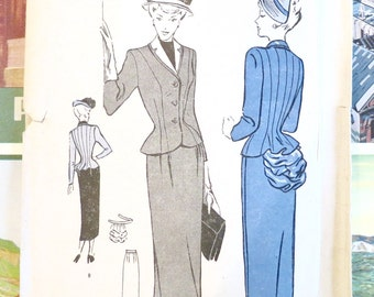 Vintage 1940s Womens Suit Pattern with Detachable Bustle - Butterick 4626