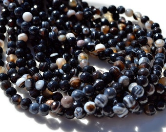 Black Agate 6mm Faceted Round Beads  Full 15 inch strand