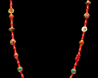 Long Flapper Necklace with Ethnic Beads - RED