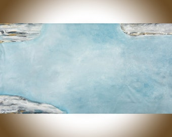 "Extra Large wall art 60"" Blue gray white abstract seascape blue home decor art office decor textured beach art shabby chic by qiqi"