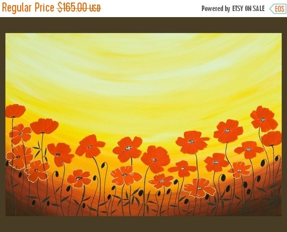 "Abstract canvas art modern art red poppy Landscape original artwork wall art wall hanging canvas art ""Sun Ray Poppies"" by QIQIGALLERY"