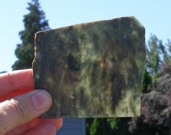 JS-15   Translucent Green Jade Slab, Lapidary Rough, Mosaic Craft Supplies