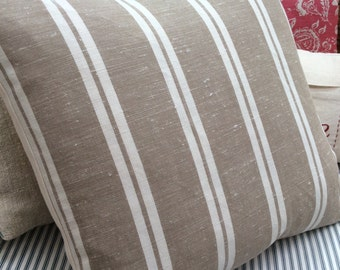 French Cottage Pillow/Ticking Stripe/Paris Shabby Chic/Lumbar/Throw Pillow/Coastal