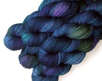 Lace Merino, Cashmere and Nylon Yarn - Blue Lagoon, 560 yards