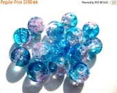 30% OFF 25 pcs Clear Pink And Blue 6mm Round Crackle Glass Beads S 057
