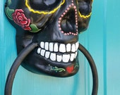 RESERVED FOR BRITTANY Sugar Skull Day of the Dead doorknocker hand painted