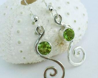 Peridot Earrings Silver - August Birthstone Earrings - Gemstone Swirl Spiral Earrings - Hammered Sterling Silver Gemstone Dangle Earrings