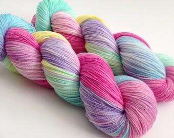 Hand Dyed Yarn - Candy Hearts - Sparkle Sock Yarn Fingering - Ready to Ship - Vivid Yarn Studio