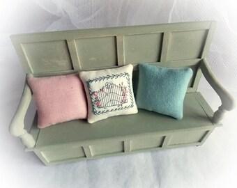 Miniature Cushions...1:12 Scale Cushions...3 Cushion Set...1 Inch Scale Pillows...Dollhouse Decor