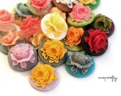 20pc resin rose cameos / choose from 20 colors / detailed resin flower cabochons for diy jewelry