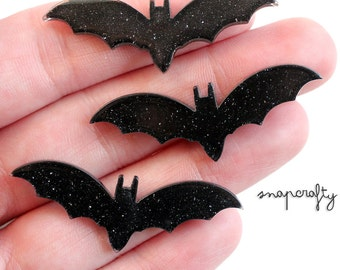 6pc spooky bat cabochons / black glitter bat cabs / deco decoden scary supplies / flat back resin acrylic cabs / halloween creepy crawlies