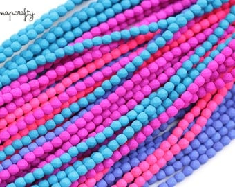 3mm neon czech glass firepolish beads / 3mm neon faceted fire polish beads / 4 colors / 50pc / pink, purple, blue, electric blue