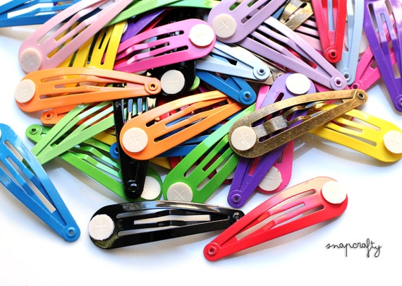 100pc hair snap clips / enameled colored hair clip blanks / 16 colors / lead-free nickel-free snapclip / kids hair clips