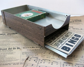 Vintage Faux Wood, Small Metal Organizer for the Office, with Pull Out Tray