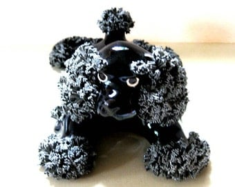 Adorable Vintage Large Black Spaghetti Poodle Figurine with Bow