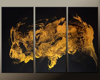Abstract Canvas Art Painting 3pc 72x48 Original Gold Contemporary art Paintings by Destiny Womack - dWo - Enlightenment III SALE