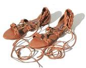 Italian Brown Leather Gladiator Warp Sandals / Ralph Laure Sandals / Size 7