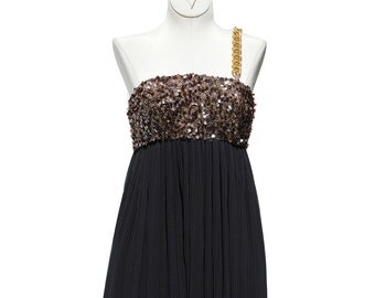 Vintage Crepe Chiffon Accordion Pleated Sequin Cocktail Dress