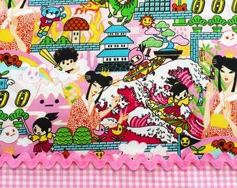 2 Pc Set ANIME DRAGON & GINGHAM in Pink Cotton Quilt Fabric Comic Graphic Japanese Kawaii Geishas Asian Manga Tokyo Japan Harajuku Girls