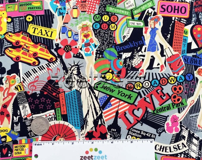 NEW YORK Montage Collage CHARCOAL Grey Taxi City Travel Times Sq Shopping Museum Brooklyn Quilt Fabric Anime Comic Pop Art