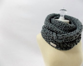 Infinity scarf ~ circle scarf ~ wool blend ~ style #1016 shown in Charcoal Gray
