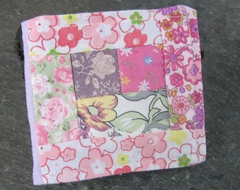 Reversible Pink Floral Patchwork Cotton Needlebook