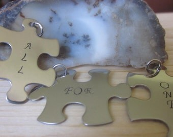 All for One Puzzle Pieces set of 3 fit together puzzle pieces best friends friendship gift choice of charms or key chains